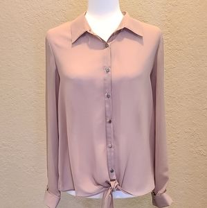 NY Collection Sheer Blouse w/Tie Hem - Large